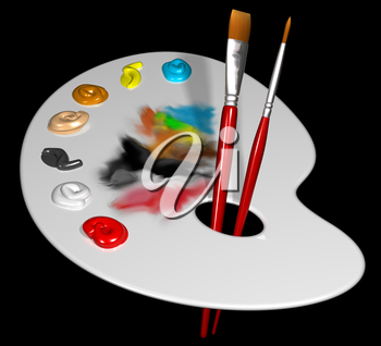 Royalty Free Clipart Image of an Artist Palette with Brushes