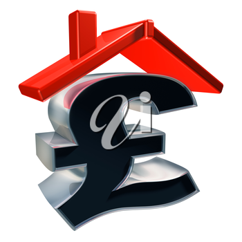Royalty Free Clipart Image of a Pound Sign with a House Rooftop
