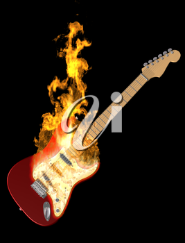 Royalty Free Clipart Image of a Red Electric Guitar on Fire