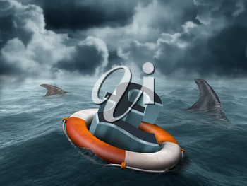 Royalty Free Clipart Image of a Pound Sign Floating in Water in a Buoy with Sharks