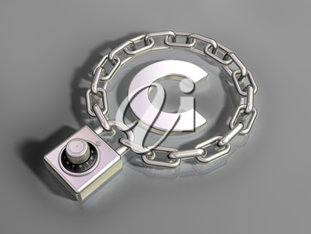 Royalty Free Clipart Image of a Copyright Symbol with a Chain and Padlock Around it