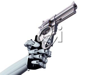 Royalty Free Clipart Image of a Robot Hand Pointing a Gun