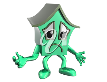 Royalty Free Clipart Image of a Cartoon House with an Unhappy Face