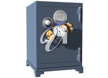 Royalty Free Clipart Image of a Safe with a Time Bomb Attached