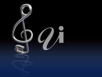 Royalty Free Clipart Image of a Safety Pin in the Shape of a Music Note