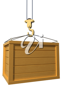 Royalty Free Clipart Image of a crane lifting a wooden box
