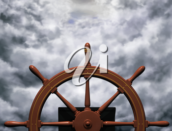 Royalty Free Clipart Image of a Ship's Wheel Steering a Steady Course Through Rough Waters