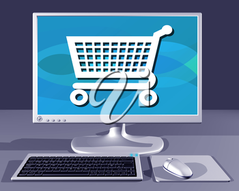 Royalty Free Clipart Image of a Desktop computer showing Internet Shopping