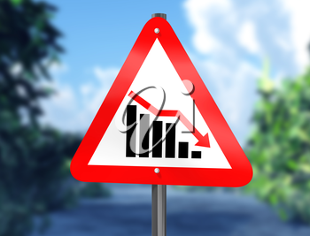 Royalty Free Clipart mage of a chart on a signpost showing a downward trend