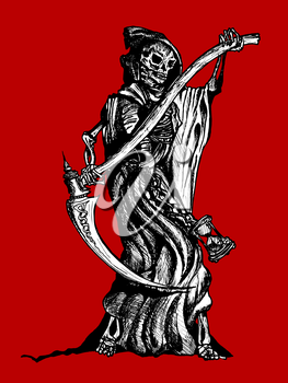 Royalty Free Clipart Image of an Original Pen and Ink Illustration of the Grim Reaper