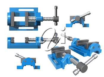 Royalty Free Clipart Image of a Metal Clamp from Various Angles