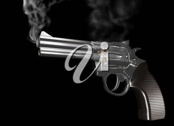 Royalty Free Clipart Image of a Gun that has Just Been Fired and is Smoking