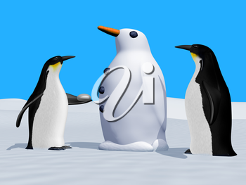 Royalty Free Clipart Image of Two Penguins making a Snow Penguin