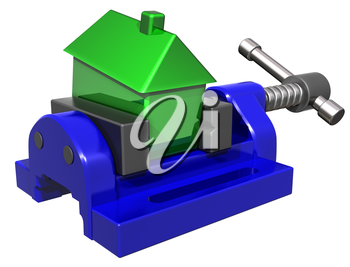 Royalty Free Clipart Image of a House Being Squeezed in a Vice