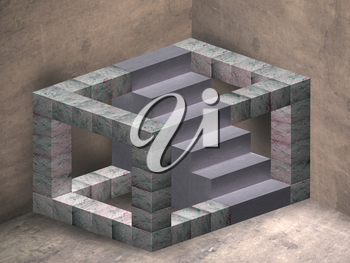 Royalty Free Clipart Image of an Impossible Geometric Staircase in a Mysterious Room