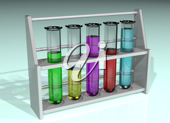 Illustration of a rack of five test tubes in a line containing different colored chemicals