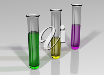 Illustration of three test tubes in a line containing colored chemicals