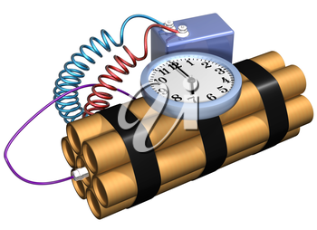 Isolated illustration of a time bomb primed and ready for action
