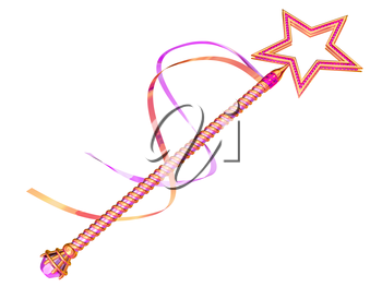 Isolated illustration of a pink and gold fairy wand