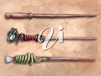Three magical wizard wands on old parchment