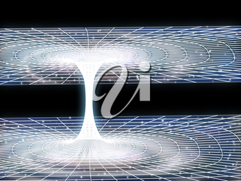 Clipart Illustration of a Wormhole Ripping its Way Through Outer Space