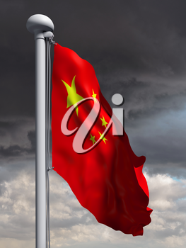 Royalty Free Clipart Image of a Chinese Flag