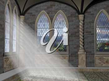 God rays streaming through a stained glass leaded window