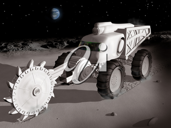 Huge lunar excavator exploiting  resources on the moon