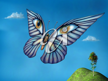Stylized surreal butterfly flying above green hills on a summer day