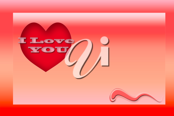 Royalty Free Clipart Image of a I Love You Background With a Heart