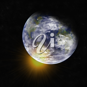Royalty Free Clipart Image of the Earth and Sun