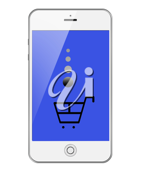 Mobile Smart Phone with Shopping Trolley Isolated on White Background. Highly Detailed Illustration.