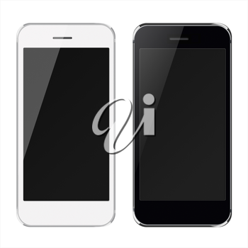 Realistic black and white mobile phones with black screen isolated on white background. Highly detailed illustration.