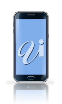 Realistic mobile phone with blue screen, reflection and shadows isolated on white background. Highly detailed illustration.