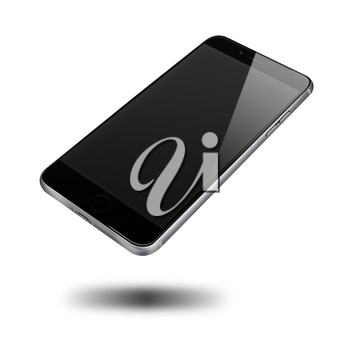 Modern mobile phone with black screen and shadows isolated on white background. Highly detailed illustration.