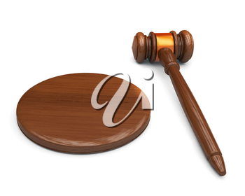 Wooden judge gavel and sound board isolated on white background. Highly detailed render.