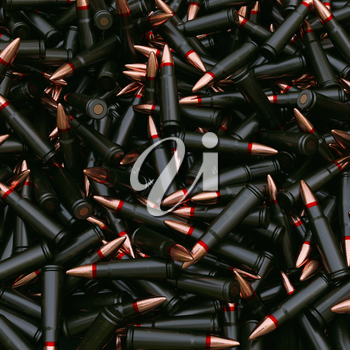 Background from military machine gun cartridges. Danger concept. Highly detailed render.