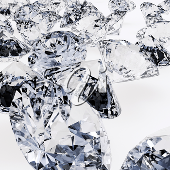 Diamonds on gray background. Detailed illustration. 3D rendering.