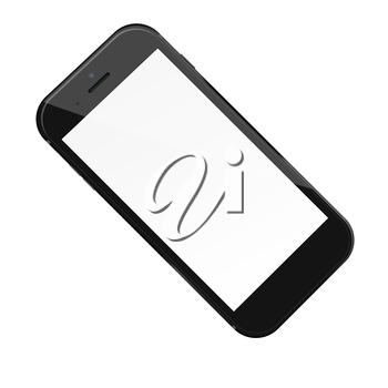 Smart phone with blank screen isolated on white background. 3D illustration.