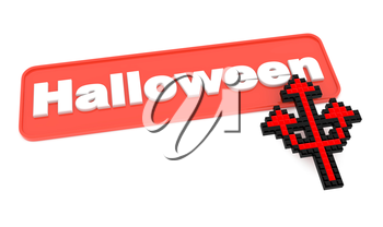 Halloween Button with Trident's Shaped Cursor, on White.