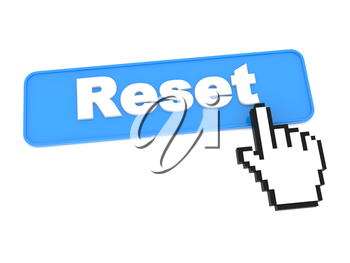 Reset Web Button. Isolated on White Background.
