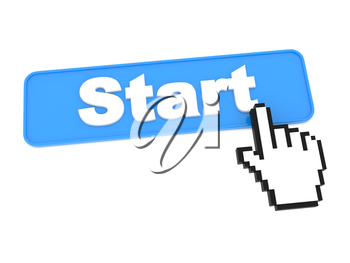 Start Blue Button with Cursor on White Background.