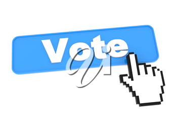 Blue Vote Web Button or Switch on White Background.
