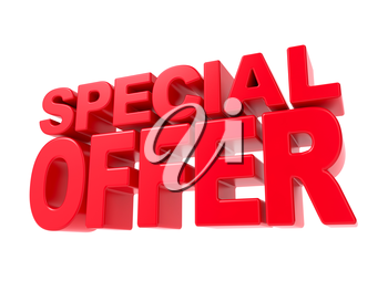 Special Offer - Red 3D Text. Isolated on White Background.