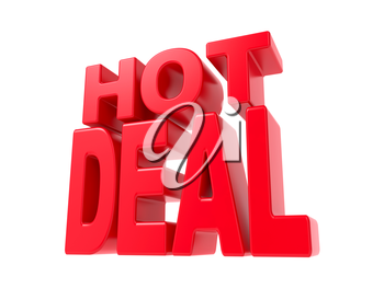 Hot Deal - Red 3D Text. Isolated on White Background.