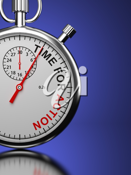 Time For Action Concept. Stopwatch with Time For Action slogan on a blue background. 3D Render.
