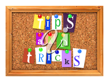 Tips and Tricks Concept Letters Attached to a Cork Bulletin or Message Board with Thumbtacks. 3D Render.