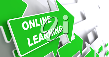 Online Learning - Education Concept. Green Arrow with Webinar slogan on a grey background. 3D Render.