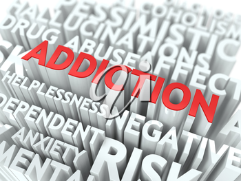 Addiction - Wordcloud Medical Concept. The Word in Red Color, Surrounded by a Cloud of Words Gray.