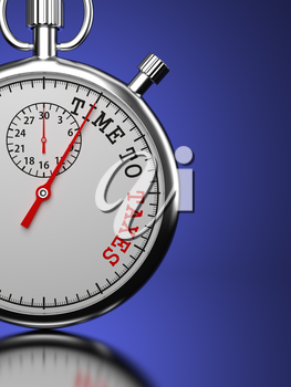 Time To Taxes Concept. Stopwatch with Time To Taxes slogan on a blue background. 3D Render.